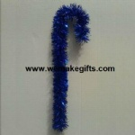Blue Tinsel Candy Cane