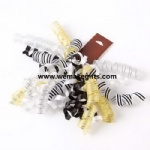Multi material curly ribbon bow